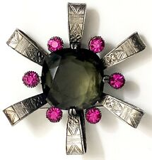 Capri Signed Atomic Star Brooch Pendant Topaz Pink Rhinestone Silver Pewter(?)