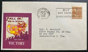1943 Louisville KY USA Patriotic Cover To Jacksonville FL Our Goal Is Victory