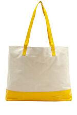 Onna Ehrlich Dana Canvas Patent Tote White Yellow