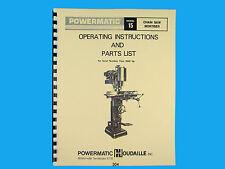 Powermatic Model 15 Chain Saw Mortiser Instruction & Parts Manual *304
