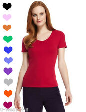 LADIES WOMENS MARKS & SPENCER PURE COTTON V NECK NECK T-SHIRT MANY COLOURS M&S
