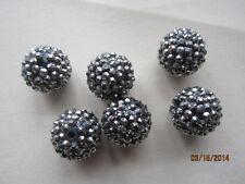 Black and Silver Hematite Resin Pave Rhinestone Beads 20mm 8pc
