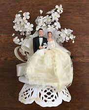 Vintage 1940's Bride and Groom Cake Topper Ivory Lace White Flowers and Ribbon