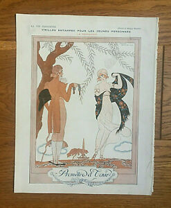ORIGINAL La Vie Parisienne Illustration: Romance, Presents, Gardens (G.Barbier)