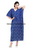 Neu Indian Blumenmuster Damen Kaftan Blaues Kleid Freizeit Bekleidung Lang Maxi