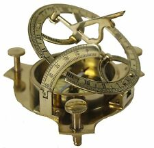 NAUTICAL SOLID BRASS WORKING NAVIGATIONAL SUNDIAL COMPASS