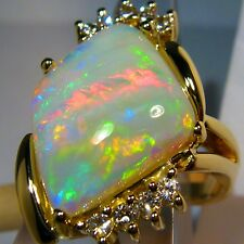 18K Natural Australian Solid Opal Heirloom 9gm Cocktail diamond Ring 18x15mm Sz6