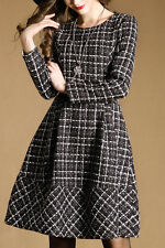 Black and White Plaid Drawstring Dress Size 8-14