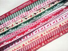 Christmas Grosgrain Ribbon Bundle of 1m lengths 10 Assorted Pieces
