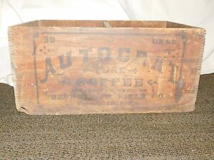 VINTAGE AUTOCRAT COFFEE BROWNELL & FIELD CO PROVIDENCE RI 30 CANS WOOD BOX