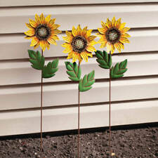 Metal Sunflower Blooms Set of 5 Garden Stake Patio Yard Lawn & Garden Decor Gift