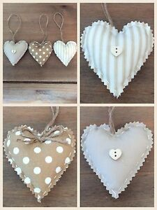 Set Of 3 Shabby Chic Fabric Hanging Love Hearts / Padded Hanging Hearts