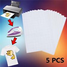 5X A4 Heat Transfer T-Shirt Laser/Inkjet Iron-On Paper For Light Fabric Set LG