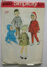 Simplicity sewing pattern 8320 Toddlers Coat, Hooded Coat, Trous  Size 3 VINTAGE