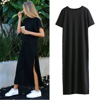 Summer Sexy Side High Slit Long T shirt Women Short Sleeves Black Maxi Dress NEW