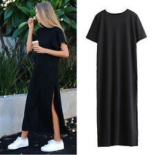 Summer Side High Slit Long T shirt Women Short Sleeves Black Casual Maxi Dress