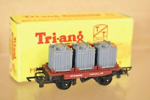 TRIANG T276 TT GAUGE BR MAROON CONFLAT WAGON B530298 with CONTAINER LOAD BOXED