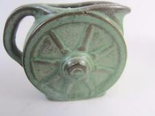 Frankoma Wagon Wheel Prairie Green Verde Bronze Ada Pottery Mini Pitcher 2-1/2""