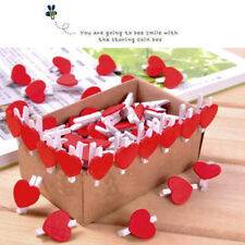 20x Stylish Wooden Red Love Heart Pegs Photo Paper Clips Wedding Decor Craft VVV