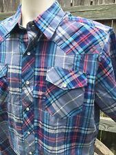 Wrangler Western Shirt Pearl Snap Size Large Blue Red Plaid Rockabilly Cowboy