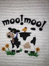 Embroidered Kitchen Bar Hand Towel- Bs0144R Moo Moo Cow