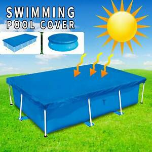 Round &Rectangle Swimming Paddling Pool Cover Tarp Inflatable Easy Fast Set Rope
