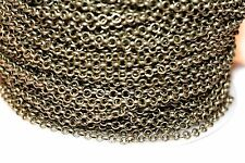 15ft 2.5mm Antique Brass Rolo Cable Chain links-unsoldered 1-3 day Shipping