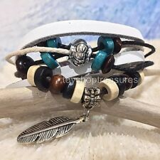 New Tribal Silver Feather Turquoise wood bead Leather Bracelet Surfer White