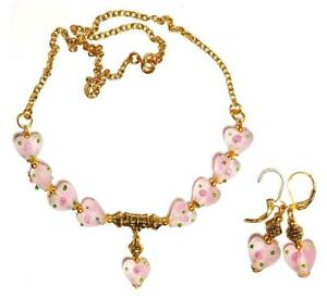 GOLD NECKLACE LEVERBACK EARRING SET pink heart gypsy vintage antique style prom
