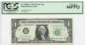 $1 1963 FRN Fr# 1900-B* Block PCGS UNC Gem 66 PPQ Star Note NEW YORK  62696 *