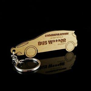Driving Test Pass wooden keyring Keepsake bus wanker New Driver Gift