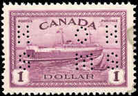 1946 Mint Canada Scott #O273 $1 Perforated Peace Issue Stamp VF Never Hinged