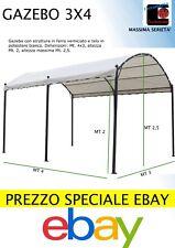 GAZEBO TUNNEL PERGOLA DA GIARDINO IN ACCIAIO 3x4 mt tettoia colore BIANCO PANNA