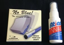 New No Blue Sponge From Longoni - Shaft Cleaner For Pool Cue Shafts + Atlas Wax