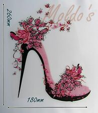 Posh Shoe Iron Hot Fix Smooth Vinyl Motif Large Patch Badge Pink Butterfly  421