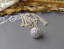 Sterling Silver Diamonique CZ Greek Key Pave Bead Ball Pendant Necklace Chain