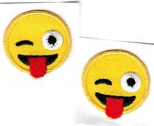 "SET OF 2 EMOJIS w/TONGUE OUT (1"" ROUND) Iron On Patch Emojis"