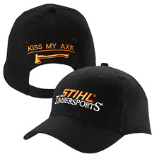 STIHL Timbersports Kiss My Axe Black Fabric Hat / Cap w Embroidered Logo
