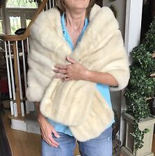 White Silver Cream Ranch Mink Stole - BULLOCKS, SANTA ANA, CA - M/L, BRIDAL