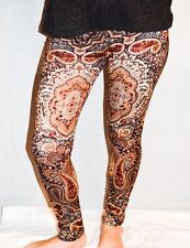 Ladies/Womens Brown and Burgundy Paisley Patterned Leggings