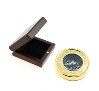 Personalised Brass Compass In Wooden Box - Engraved With Your Message