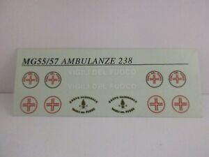 DECAL 1/43 FIAT 238 VARIE VERSIONI AMBULANZA SERVIZIO FERRARI MG MODEL MG55/57