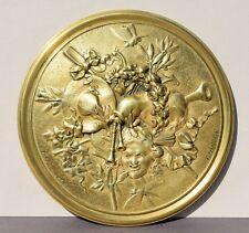 Plaque d'ornement en bronze décor 19e siècle par Louis Théophile Hingre