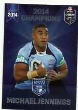 2014 ESP NRL STATE OF ORIGIN NSW BLUES ROOSTERS MICHAEL JENNINGS SOO10 CARD