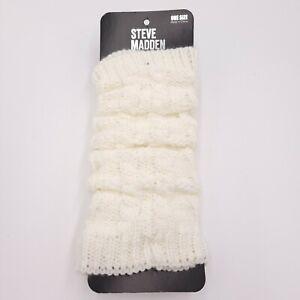 Steve Madden White Ivory Basketweave Womens Acrylic Leg Warmers One Size