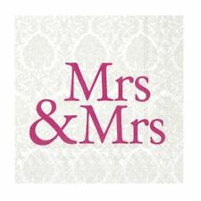 Mrs & Mrs Pink Paper Napkins Wedding Day Cocktail Party Disposable Serviettes
