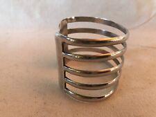 5 Band Wide 925 Sterling Silver Modernist Bangle Cuff Bracelet 65 Grams