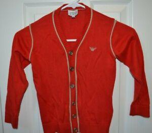 Armani Junior - Cardigan Sweater - Boys 5 - Red & Gold / 6 Button Giorgio Armani