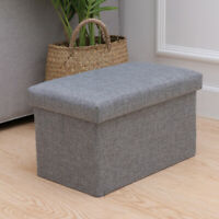 1 PC Foldable Storage Ottoman Storage Box Foot Stool Folding Toy for Living Room