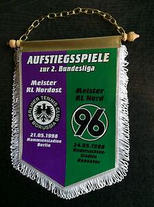 Wimpel 1997/98 Tennis Borussia Berlin - Hannover 96, weiß -  21.05. / 24.05.1998